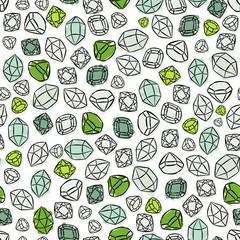 diamenty szafiry szmaragdy nieskończony deseń na białym tle