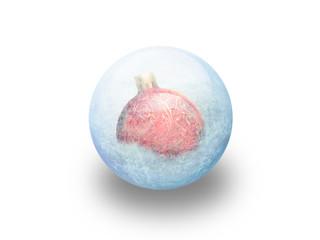"""Boule de noël rouge givrée """"2"""""""