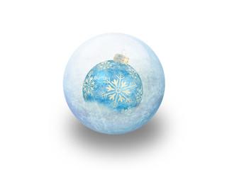 Boule de noël bleu givrée