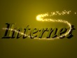 internet- 3d inscription with luminous line with spark