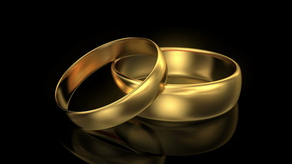 4K Zoom in wedding rings on black background. 3d animation