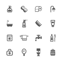 Bathroom and hygiene icons set.