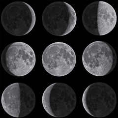 Moon Phases Mosaic - Isolated on Black