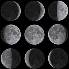 Moon Phases Mosaic - Isolated on Black