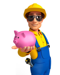 Young Mechanic with piggy bank