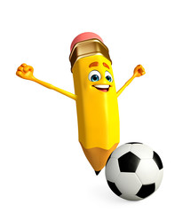 Pencil Character with football