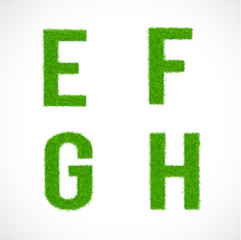 E, F, G, H font uppercase with grass textured isolated, vector