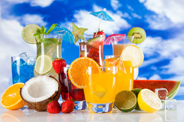 Tropical drinks on beach