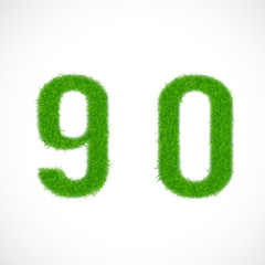 9, 0 number with grass textured isolated white, vector