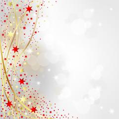 Weihnachten - Hintergrund mit goldenen und roten Sternen
