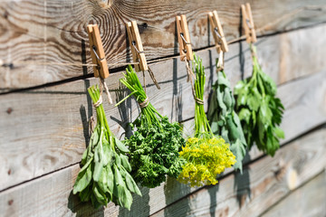 Herbs hanging over wooden background