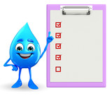 Water Drop Character with notepad