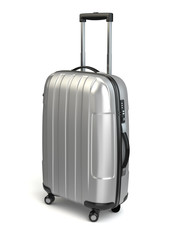 Luggage, Aluminium suitcase on white isolated background.
