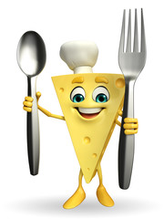 Cheese Character with spoon and fork