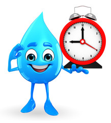 Water Drop Character with table clock