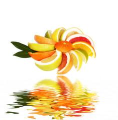 Zitrusfrüchte mit Flood auf weiss