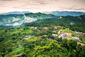 Natural landscape view of Doi Mae salong in Chiangrai province,