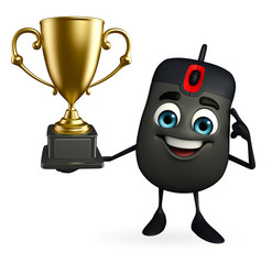 Computer Mouse Character with trophy
