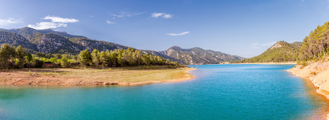 Pena Reservoir Panorama in Teruel, Spain