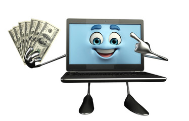 Laptop Character with dollars