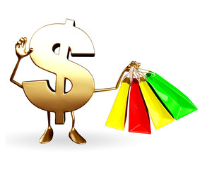 Dollar Character with shopping bags