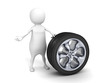 3d small person with car tire wheel