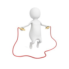 3d small person jumping through a skipping rope