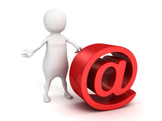 white 3d man with big red at e-mail symbol
