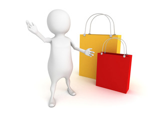 3d person with colorful shopping bags