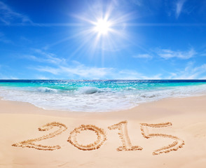 "word ""2015"" on the tropical beach"