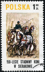 stamp printed in POLAND shows a draught horse