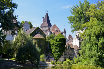 Castello Vajdahunyad, vedutra dal lago, Budapest. 4