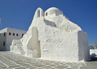 white church mykonos - greek islands