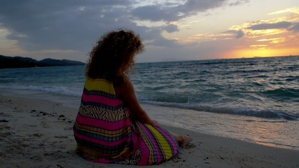 Woman Contemplating Beautiful Romantic Sunset and Seascape. Slow