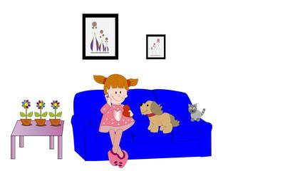 Niña en sofá con perro y gato