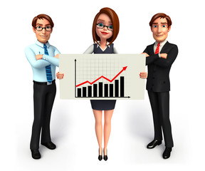 Group business people in office with business graph.