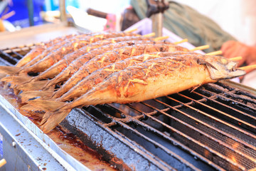 Grilled fish on the grill ,(saba).