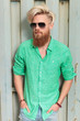 fashion man in green shirt with long beard