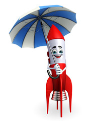 Rocket character with umbrella