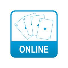 Etiqueta tipo app azul casino online