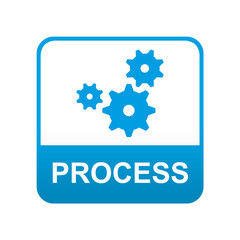Etiqueta tipo app azul PROCESS