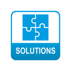 Etiqueta redonda azul SOLUTIONS