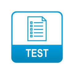 Etiqueta tipo app azul TEST