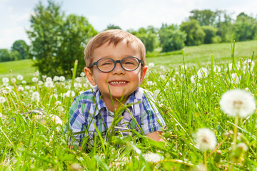 Smiling little boy lays on a grass