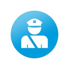 Etiqueta redonda policia