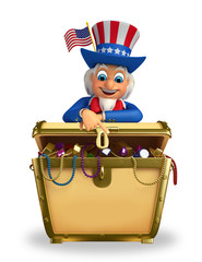 Uncle Sam with treasure box