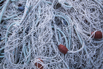 Fishing net on pier close up shoot