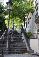 Typical Montmartre staircase in Paris, Franc