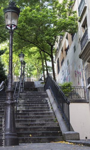 Typical Montmartre staircase in Paris, France - 67699487