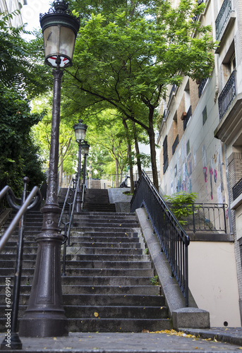 Typical Montmartre staircase in Paris, Franc - 67699491